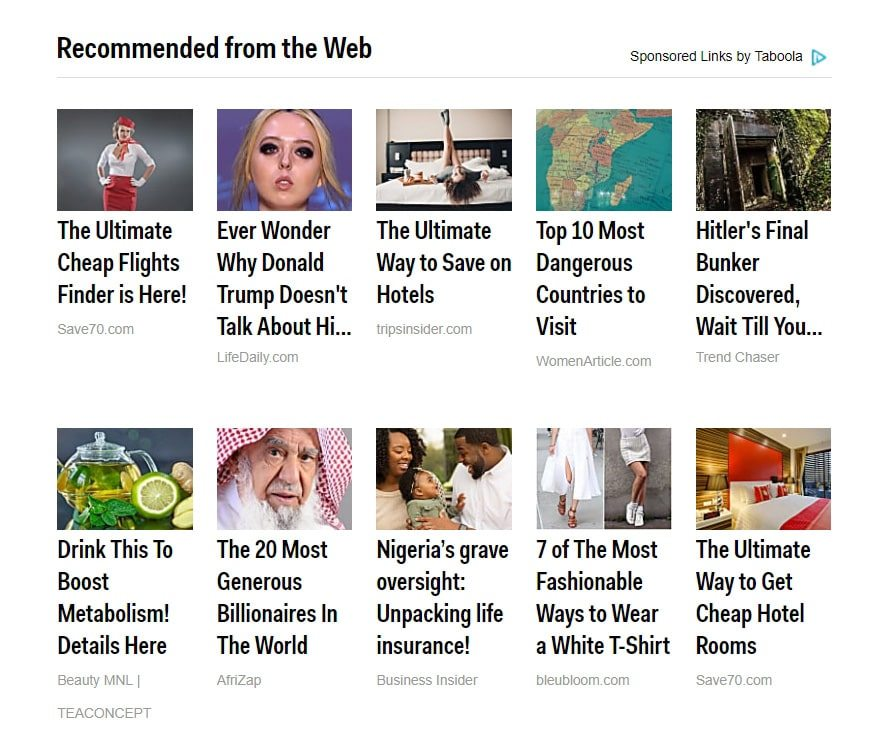 Taboola Ads Sponsored Links